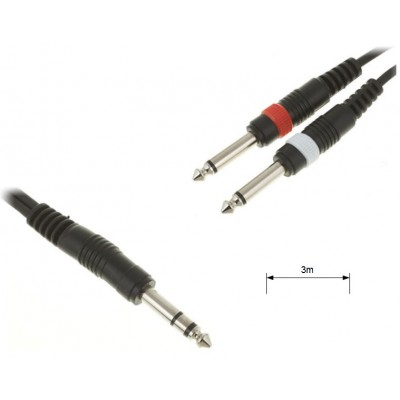 Stereo Jack to 2x Mono Jack Cable - 3 meters